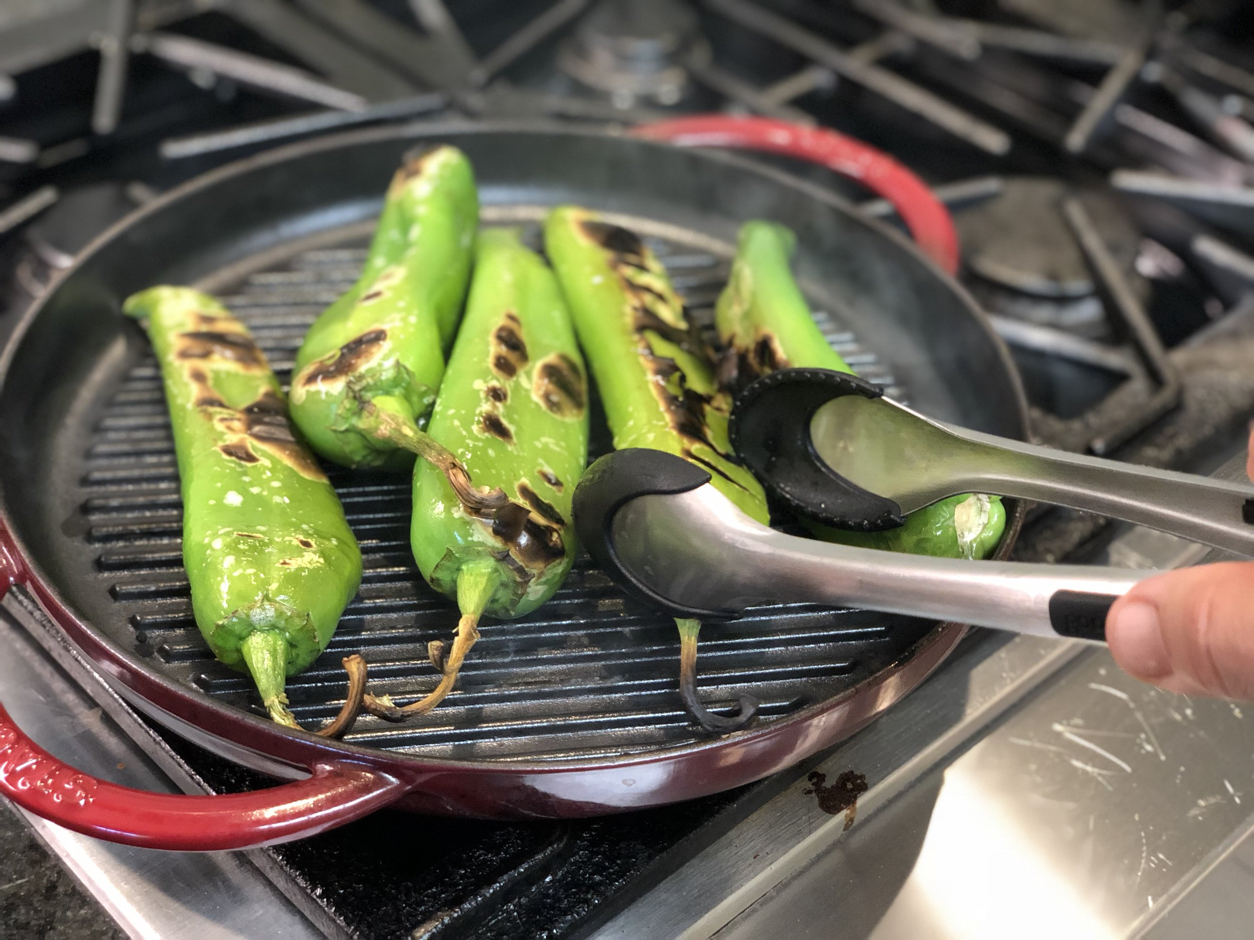 Grilling Hatch Green Chilis