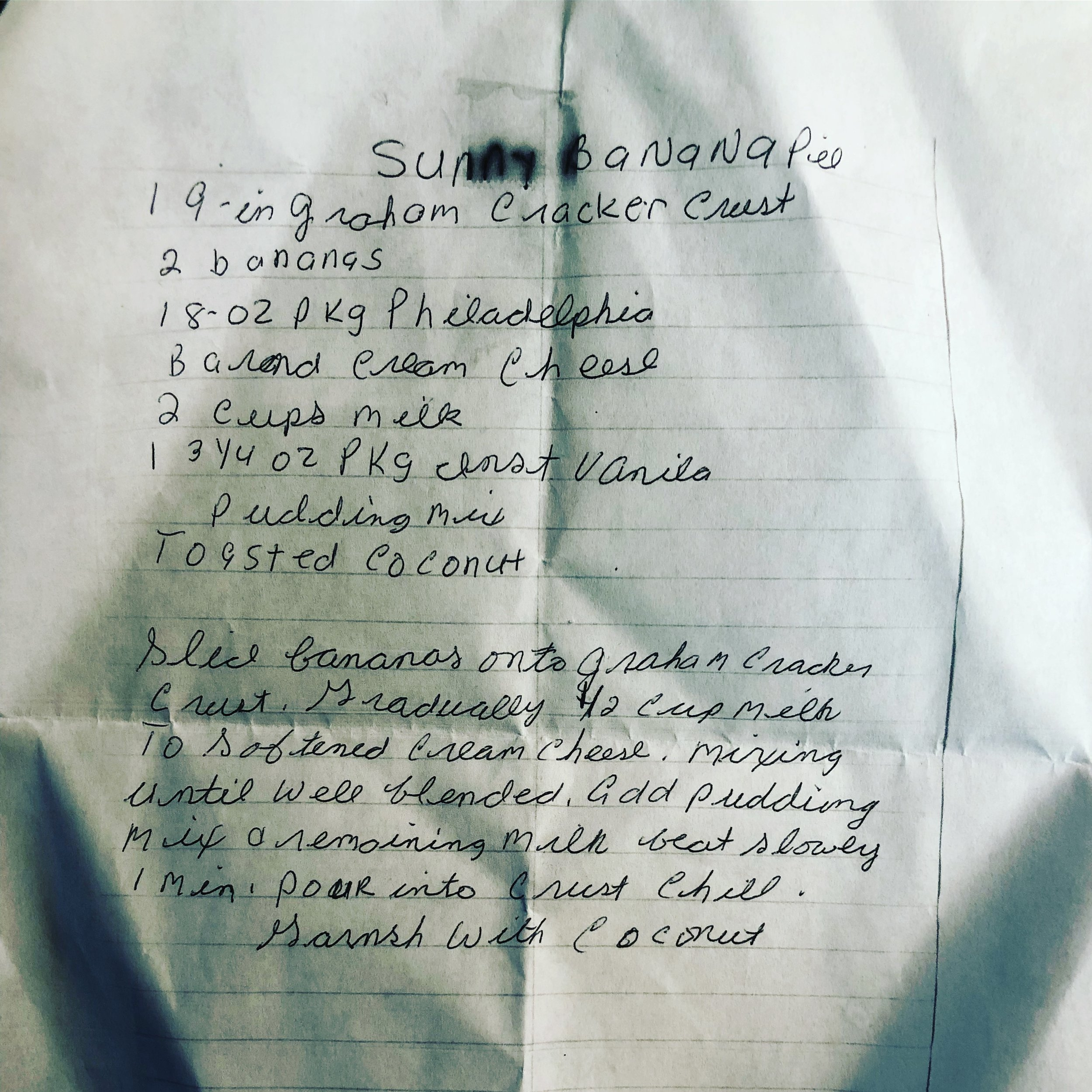 Beth's recipe from her purse.