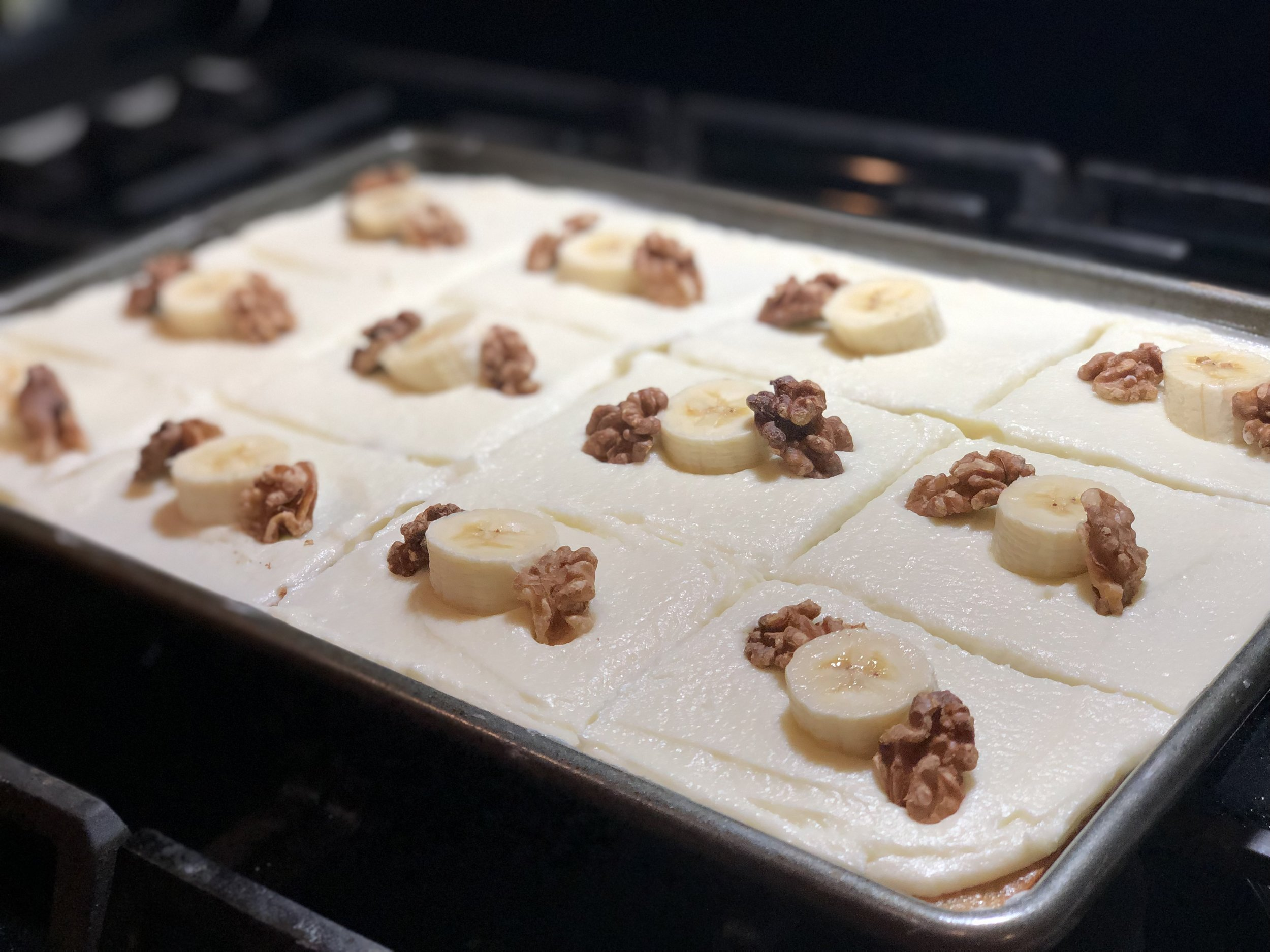 Winter weather won't get me down…. Scotty's Banana (Half) Sheet Cake just came to town!