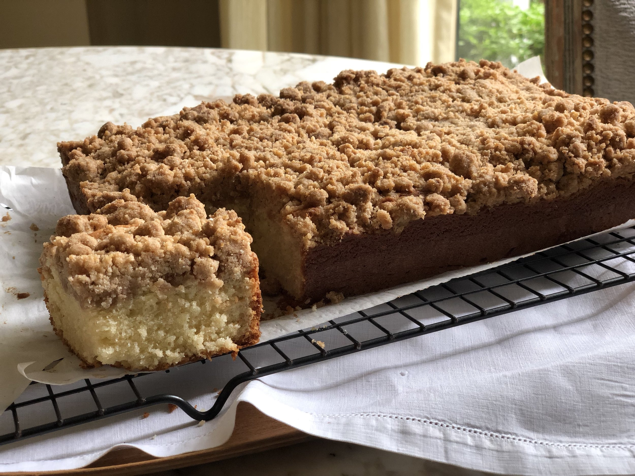 A beautiful crumb cake as is!