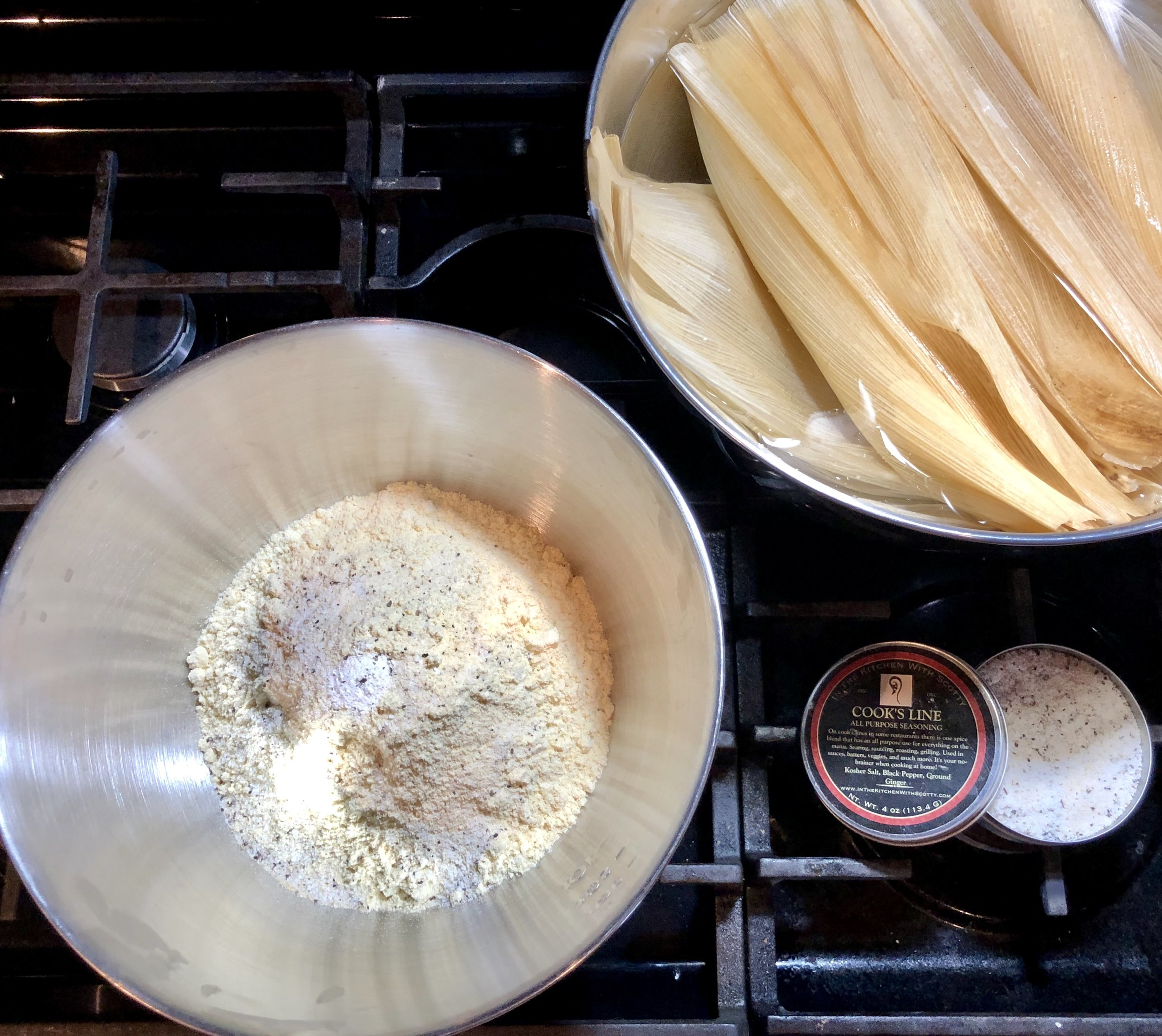 Masa Harina dough mixture, soaking corn husks, and    Cook's Line Seasoning    for the win!