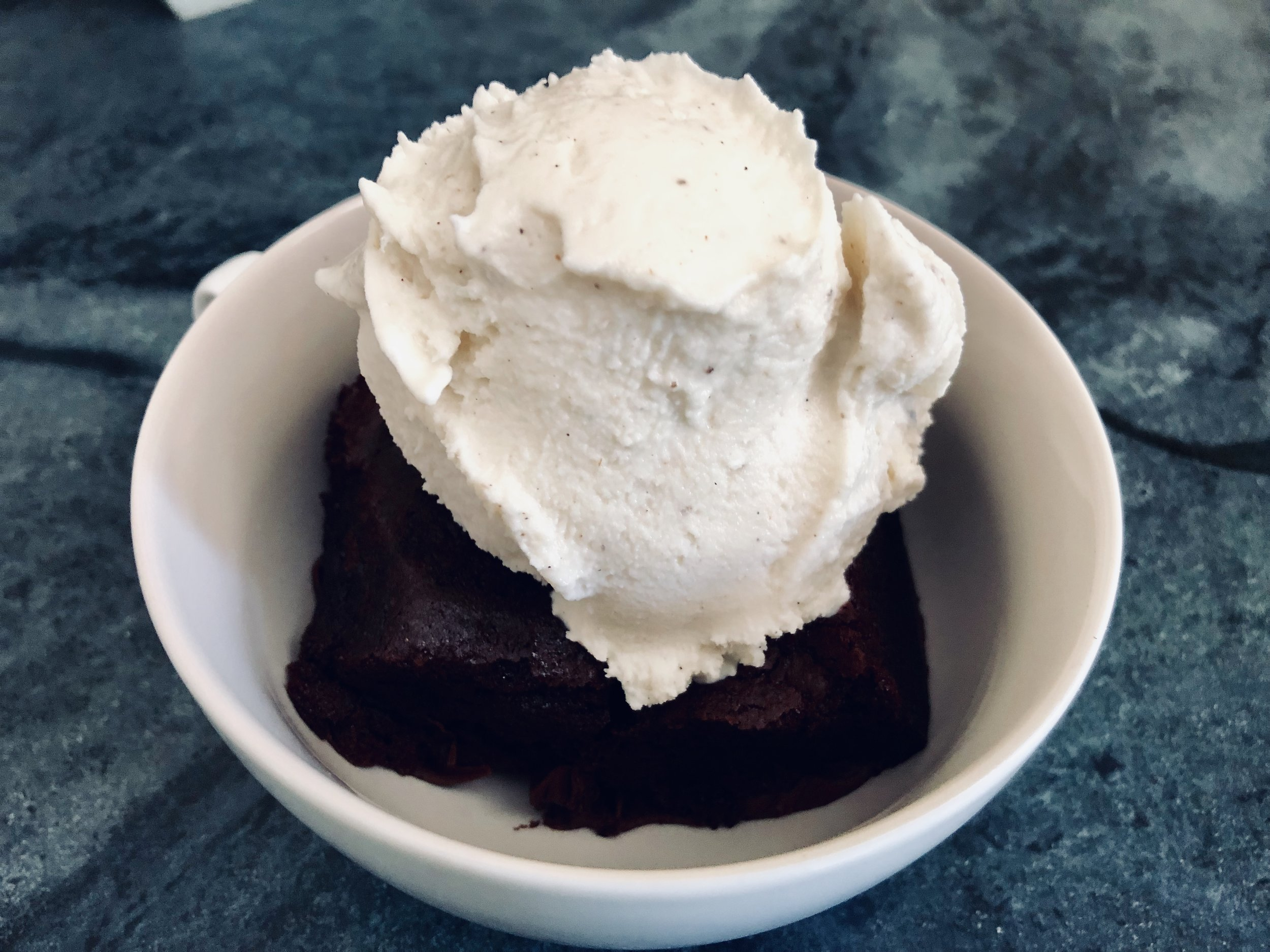 Place a brownie (or two) in the bottom of a dish or cup and top with ice-cream.