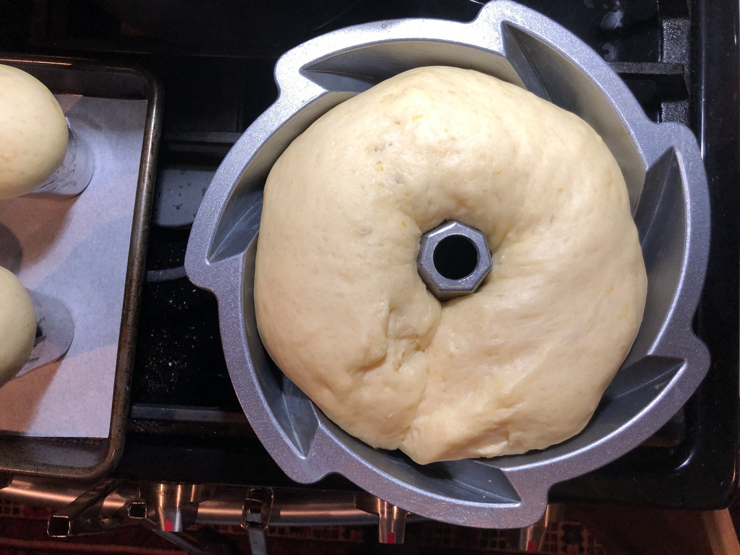 I had extra dough so placed it into a small decorative bundt pan.