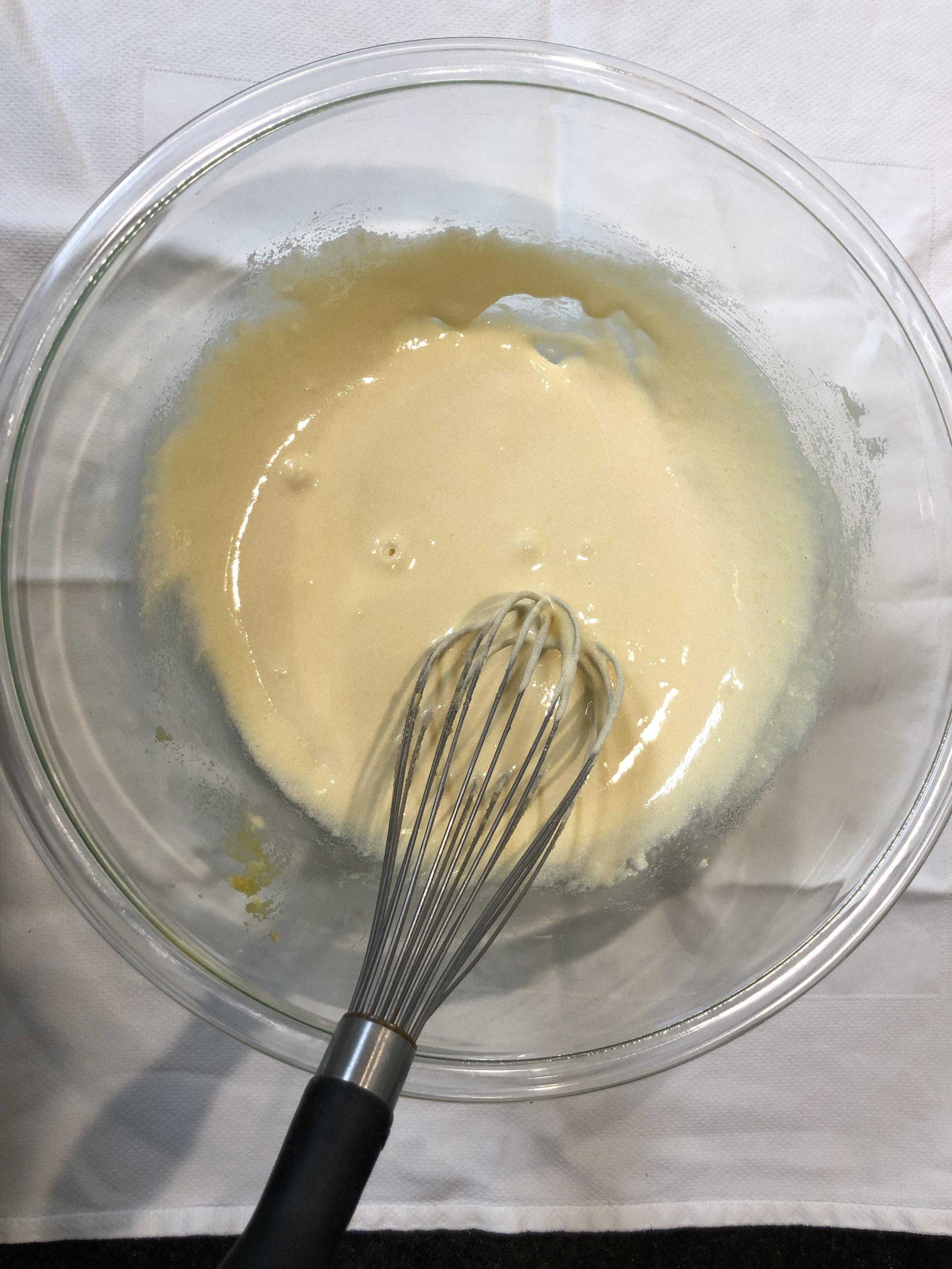 Beat the yolks, sugar, salt, and vanilla, until light and creamy.