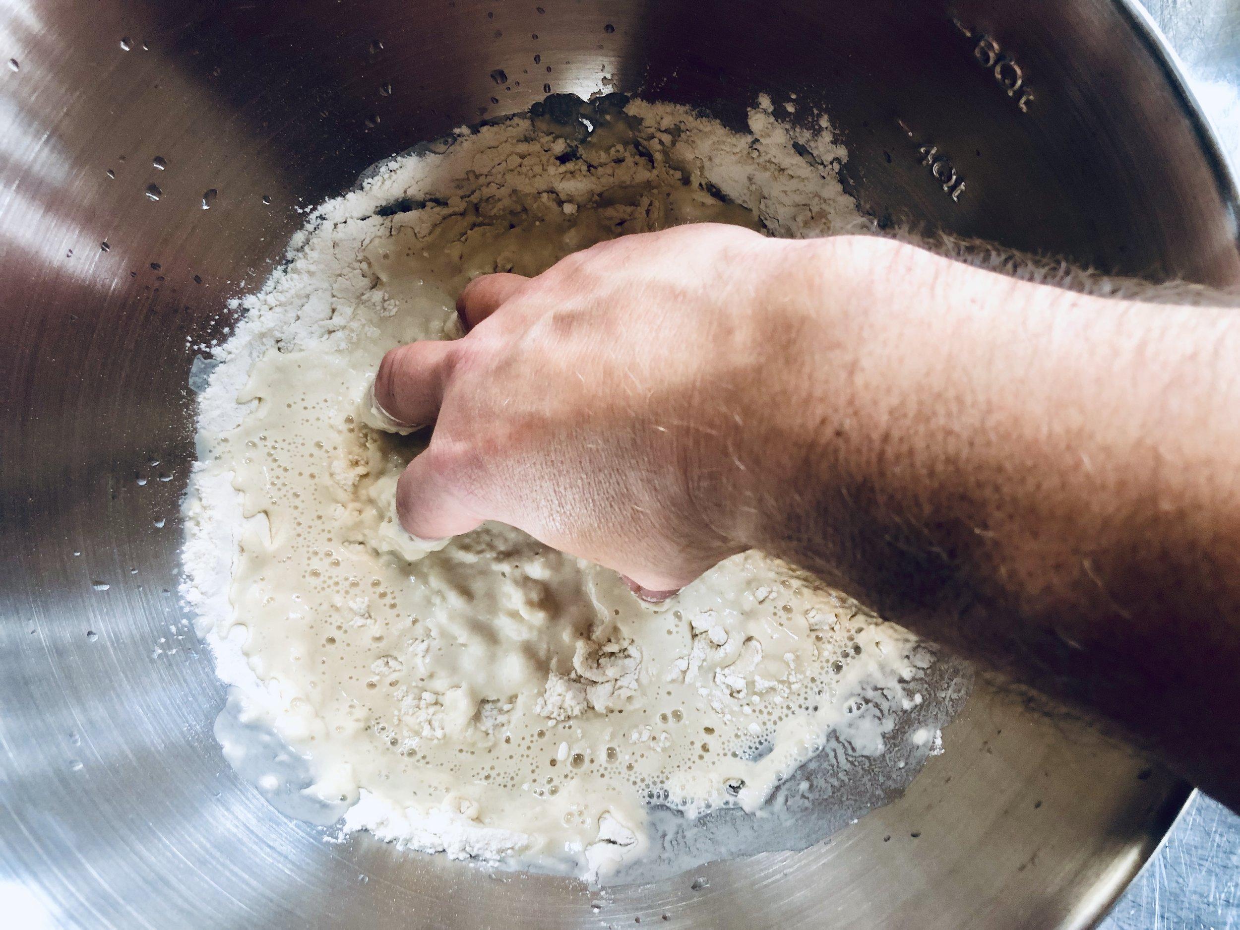 Mix to a wet sticky (shaggy) dough