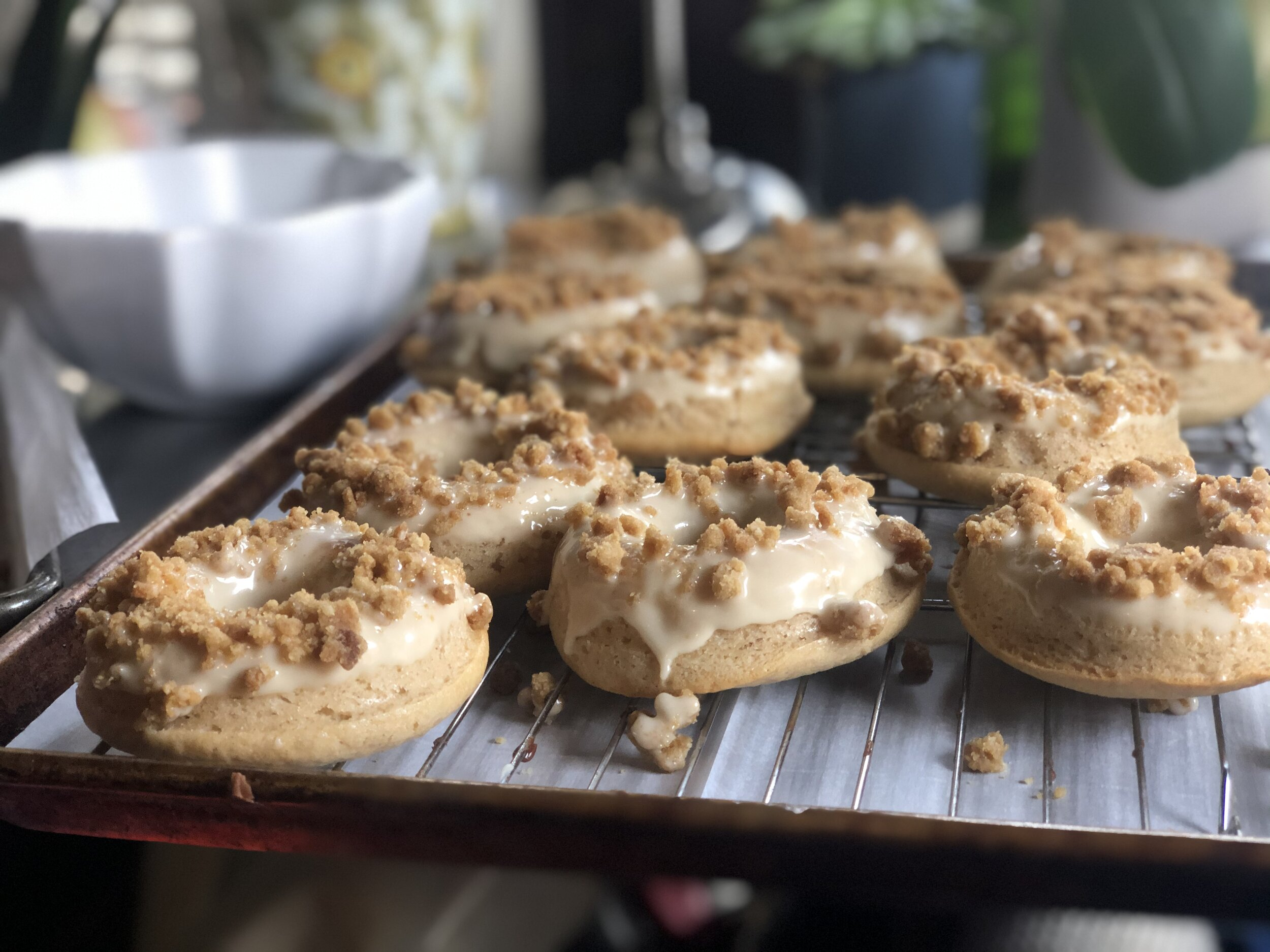 Buttermilk Maple Baked Donuts with Maple Glaze and Crumb Topping!