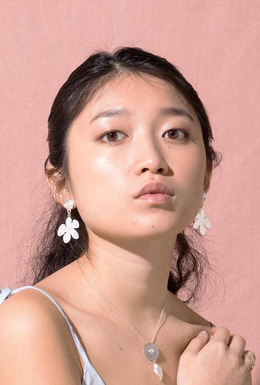 Flora-Earrings-Sterling-Silver-Model-PDP
