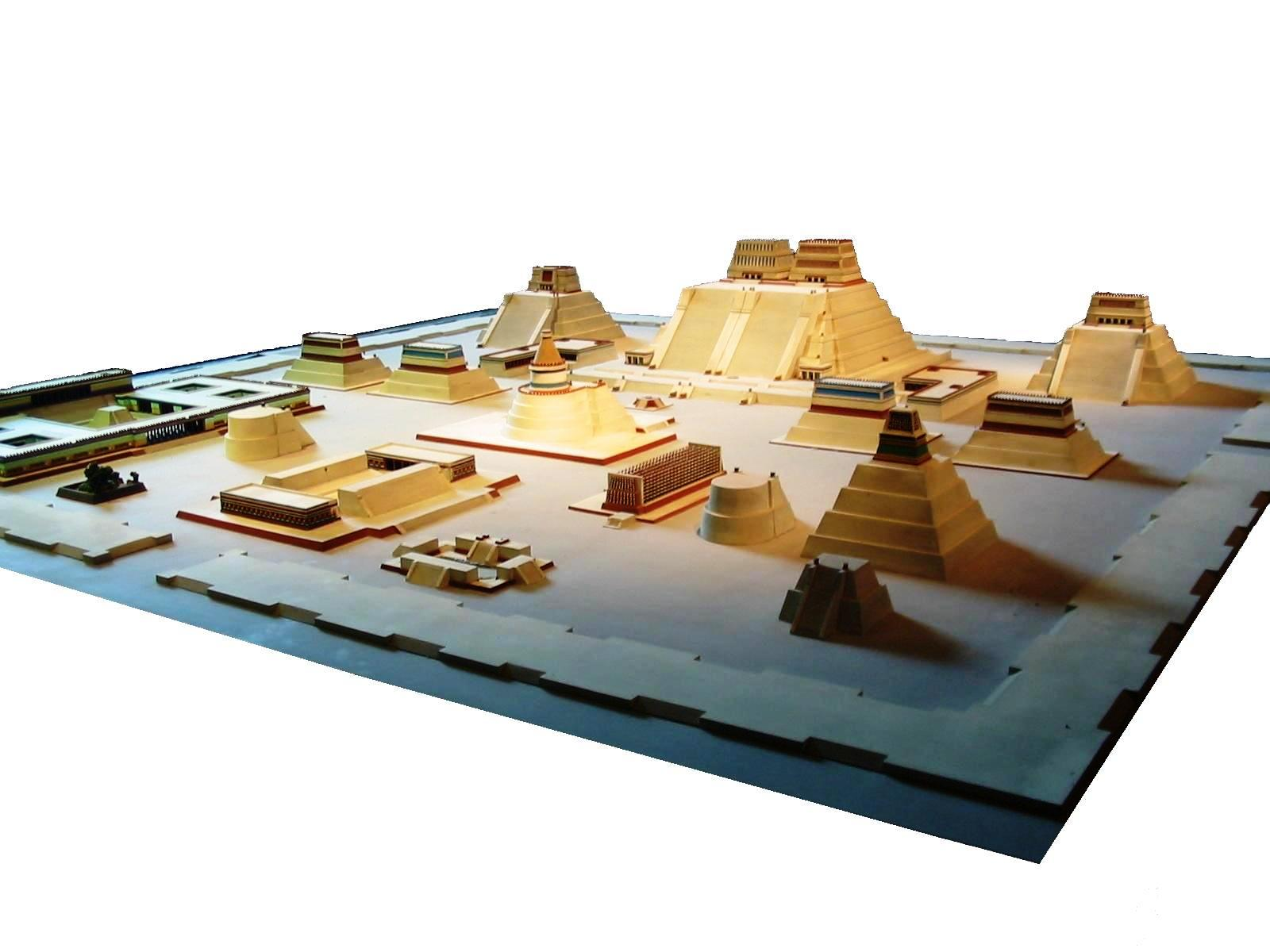 Model of the temple district of Tenochtitlan at the  National Museum of Anthropology   By Thelmadatter - Own work, Public Domain, https://commons.wikimedia.org/w/index.php?curid=3744781
