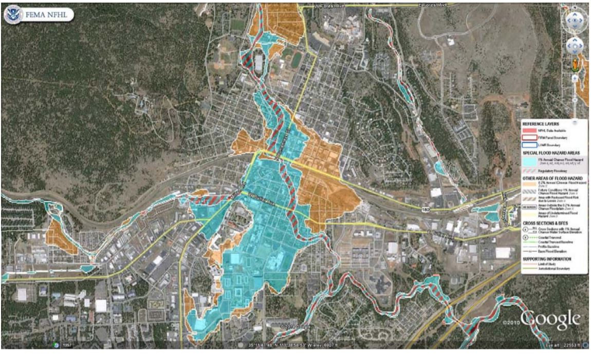 Special Flood Hazard Zone of Flagstaff, which includes all of the historic downtown and Northern Arizona University