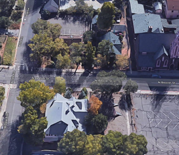Corner of Beaver and Dale, Google Maps overhead view 2018