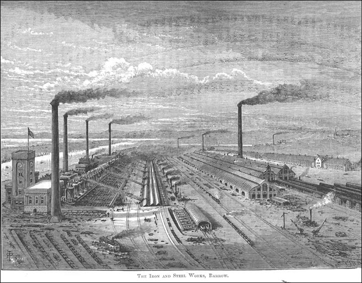 Barrow Steelworks  By unknown - 1877 or earlier, republished by University of Strathclyde project - http://victoria.cdlr.strath.ac.uk/browseTimeline.php?group=&year1=&year2=, Public Domain, https://commons.wikimedia.org/w/index.php?curid=14652342