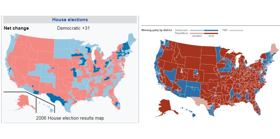House of Representatives, 2006 election compared to 2018 [preliminary as of Nov. 11]