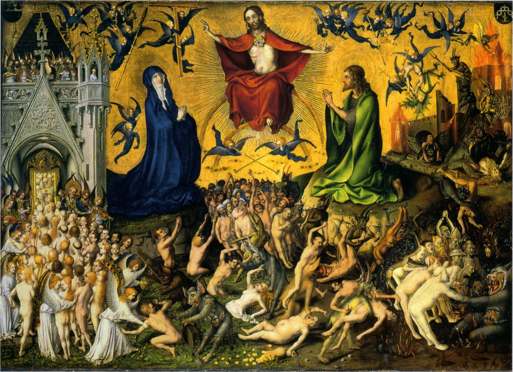 Last Judgment  By Stefan Lochner - Postcard, Public Domain, https://commons.wikimedia.org/w/index.php?curid=153939