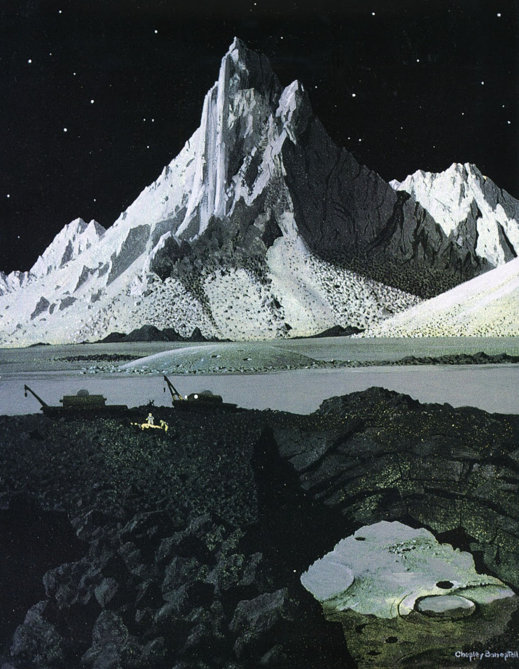A moonscape by Chesley Bonestell