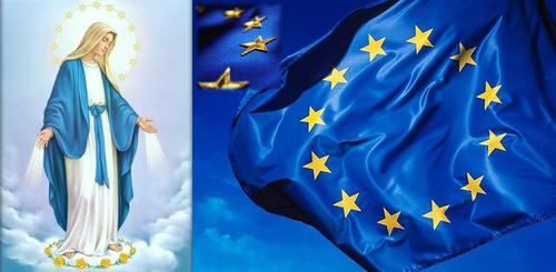The EU flag represents Mary's crown of stars.  It's not even subtle .