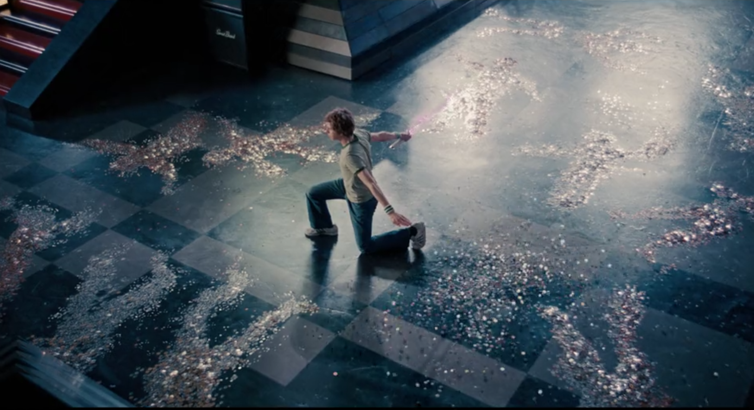 Scott Pilgrim collecting nanites, I mean coins, from his fallen foes