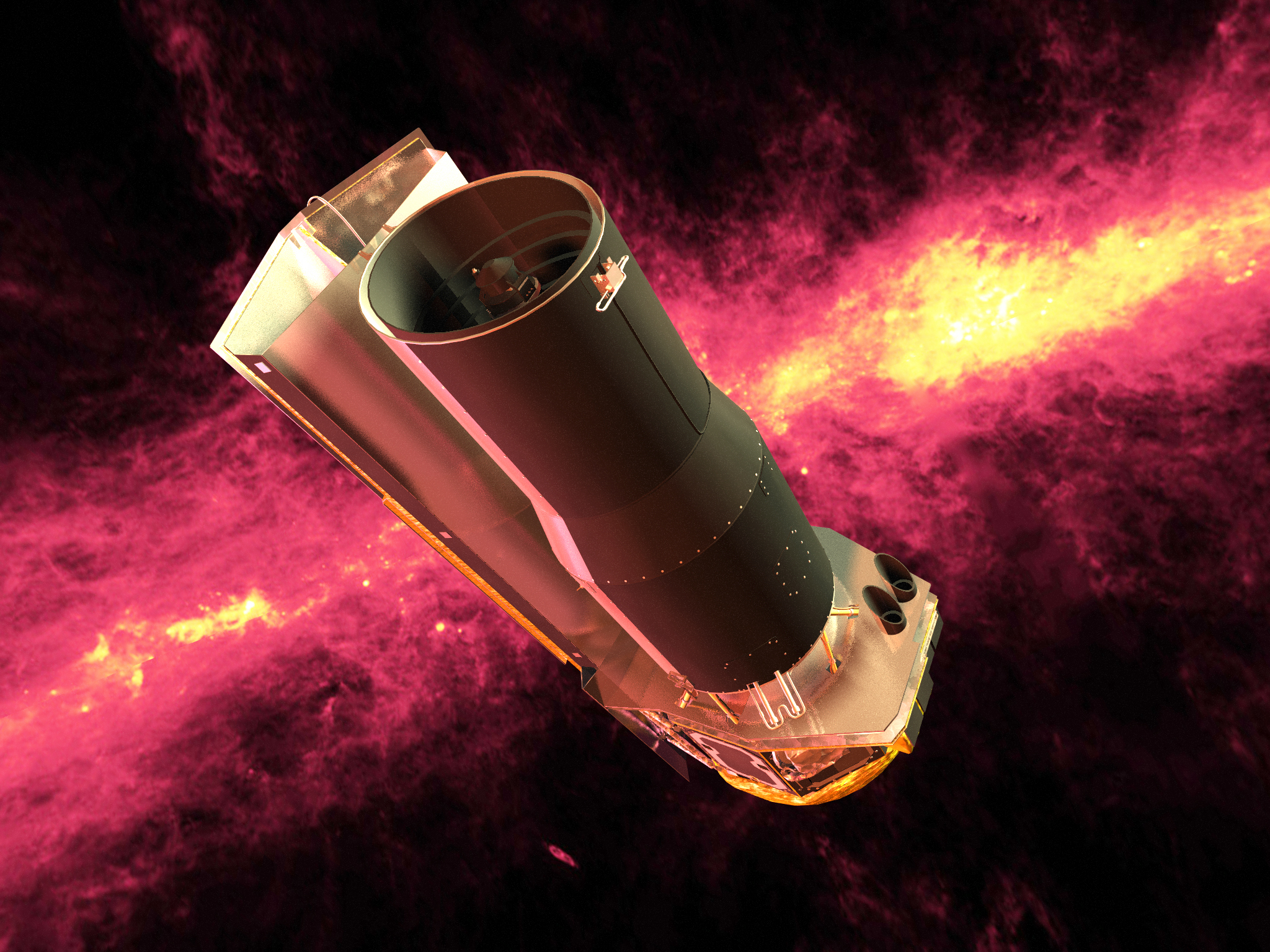 Spitzer Space Telescope  By NASA/JPL-Caltech - http://www.spitzer.caltech.edu/images/3072-SIRTF-Spitzer-Rendered-against-an-Infrared-100-Micron-Sky, Public Domain, https://commons.wikimedia.org/w/index.php?curid=85585