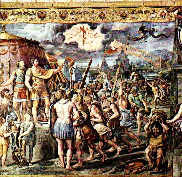"Detail from The Vision of the Cross by assistants of Raphael, depicting the vision of the cross and the Greek writing ""Ἐν τούτῳ νίκα"" in the sky, before the Battle of the Milvian Bridge.  By http://www.christusrex.org/www1/stanzas/0-Raphael.html, Public Domain, https://commons.wikimedia.org/w/index.php?curid=931511"