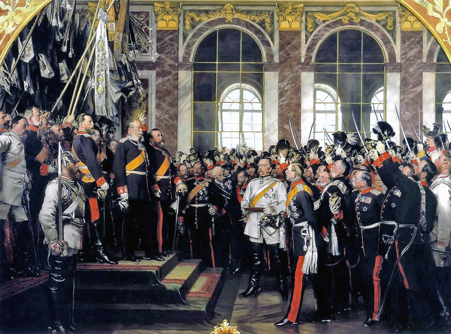 The acclimation of the Kaiser in the Hall of Mirrors  Von Anton von Werner - Museen Nord / Bismarck Museum: Picture, Gemeinfrei, https://commons.wikimedia.org/w/index.php?curid=2481294