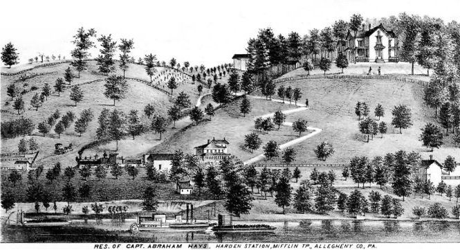 Early painting of Hays Mansion and land.
