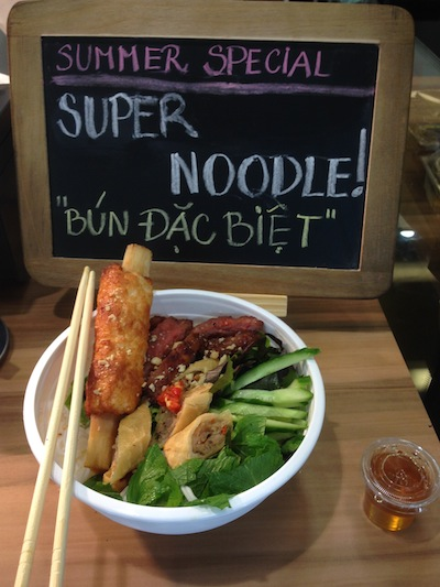 Bun dac biet in north sydney. Vietnamese vermicelli with sugarcane prawn. Vietnamese salad