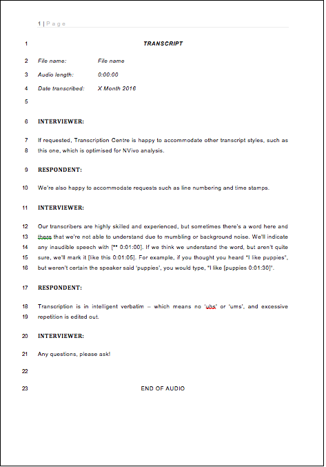 Transcript template 3 - Line numbering