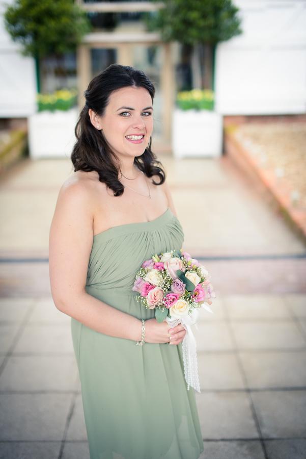 Beautiful bridesmaid in green