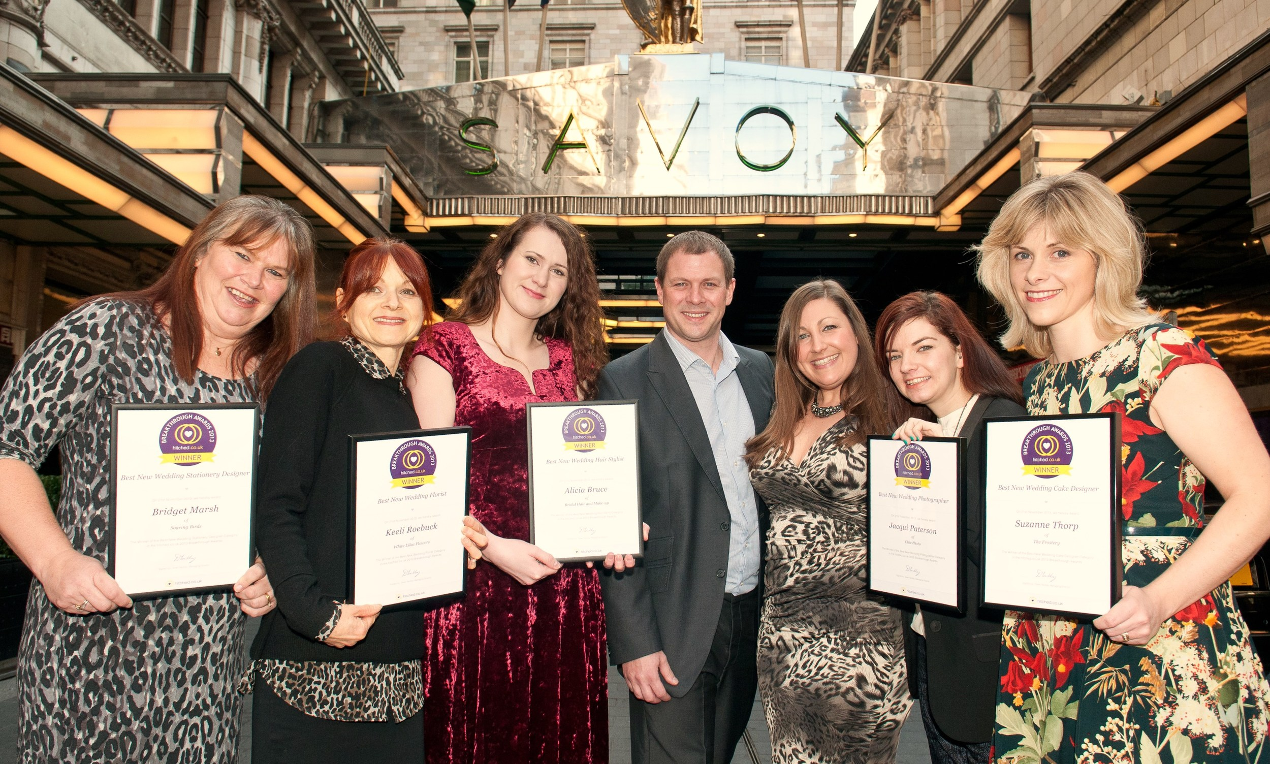 The Hitched Breakthrough Wedding Award winners together in front of The Savoy Hotel