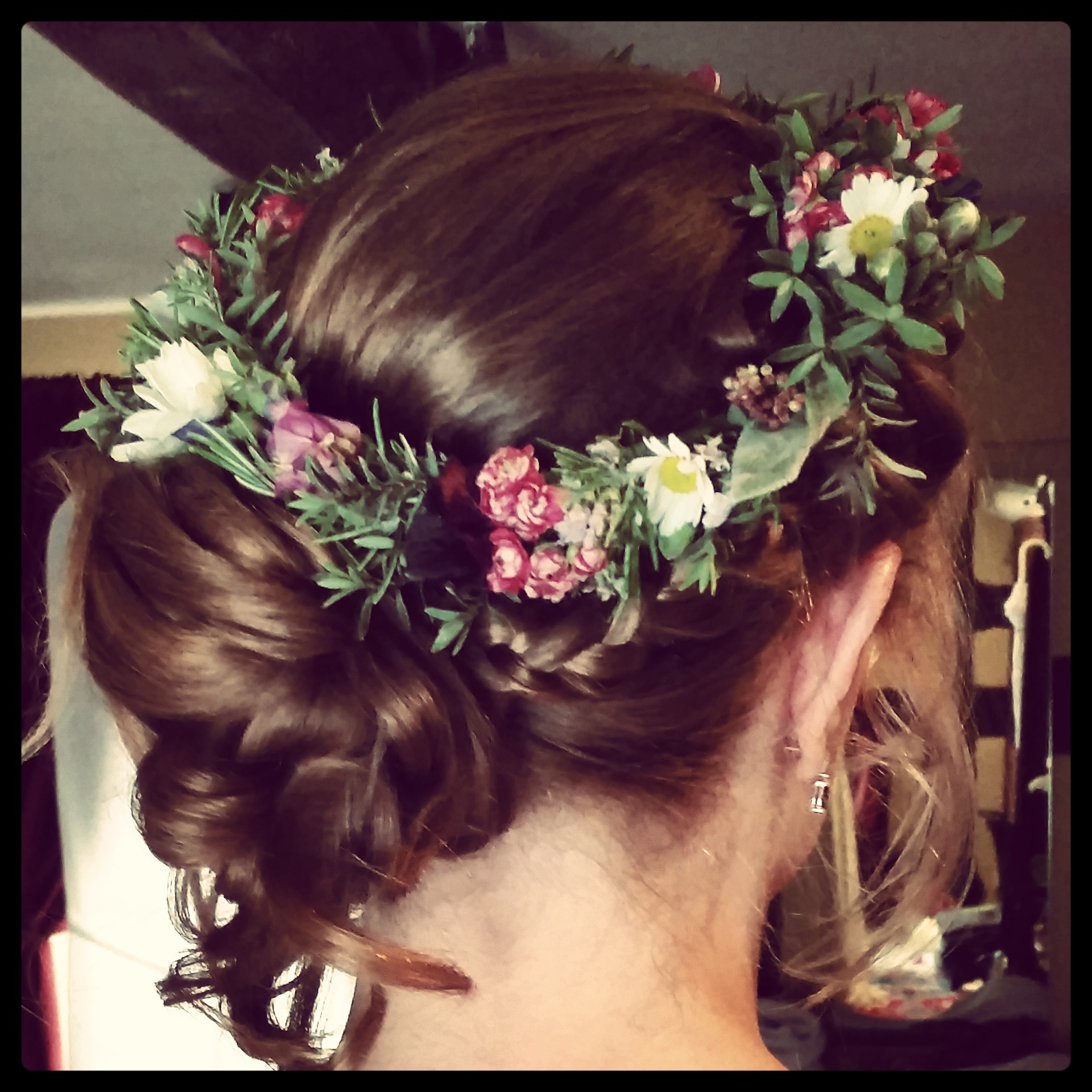 Relaxed side updo and stunning flower halo for Helen's country wedding