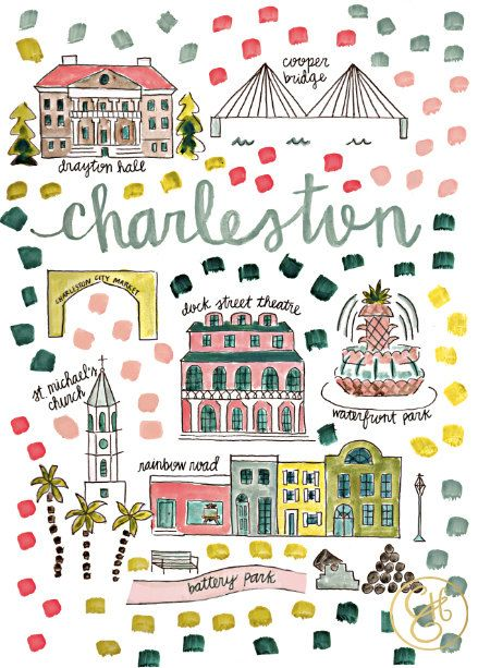 Charleston South Carolina Map by Evenlyn Henson