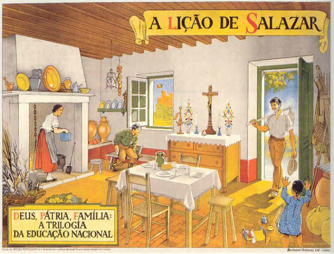 "The head of the family returns to his well-ordered, humble-but-dignified home after a day of presumably agrarian labor. God is present in the conspicuous altar, country in the castle flying the national flag and the Portuguese Youth uniform worn by the son.  caption: ""God, country, family: trilogy of national education.""   Poster: Martins Barata, 1938"