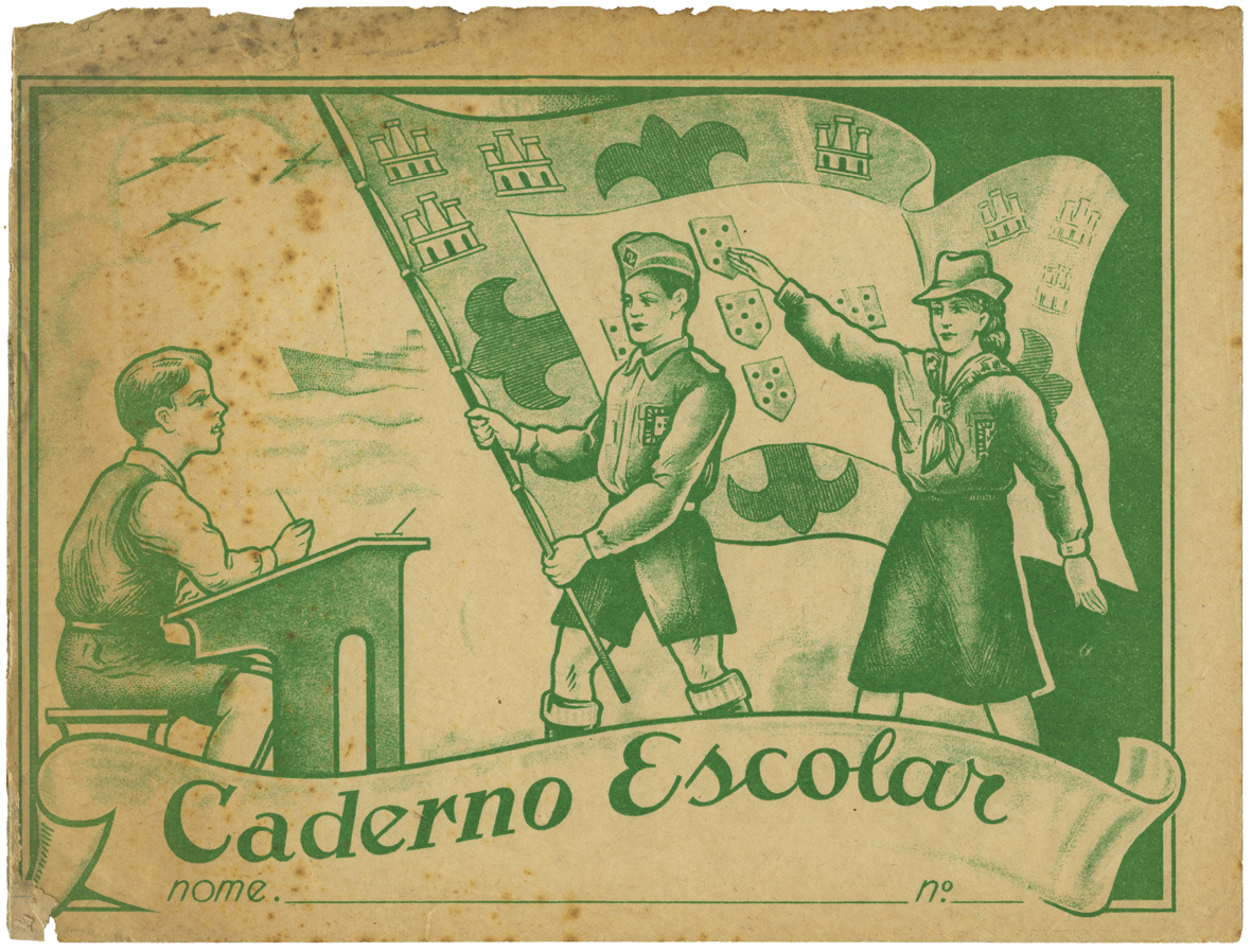 The cover of a blank school notebook featuring students in the uniforms and carrying the flag of the Mocidade Portuguesa (Portuguese Youth groups).