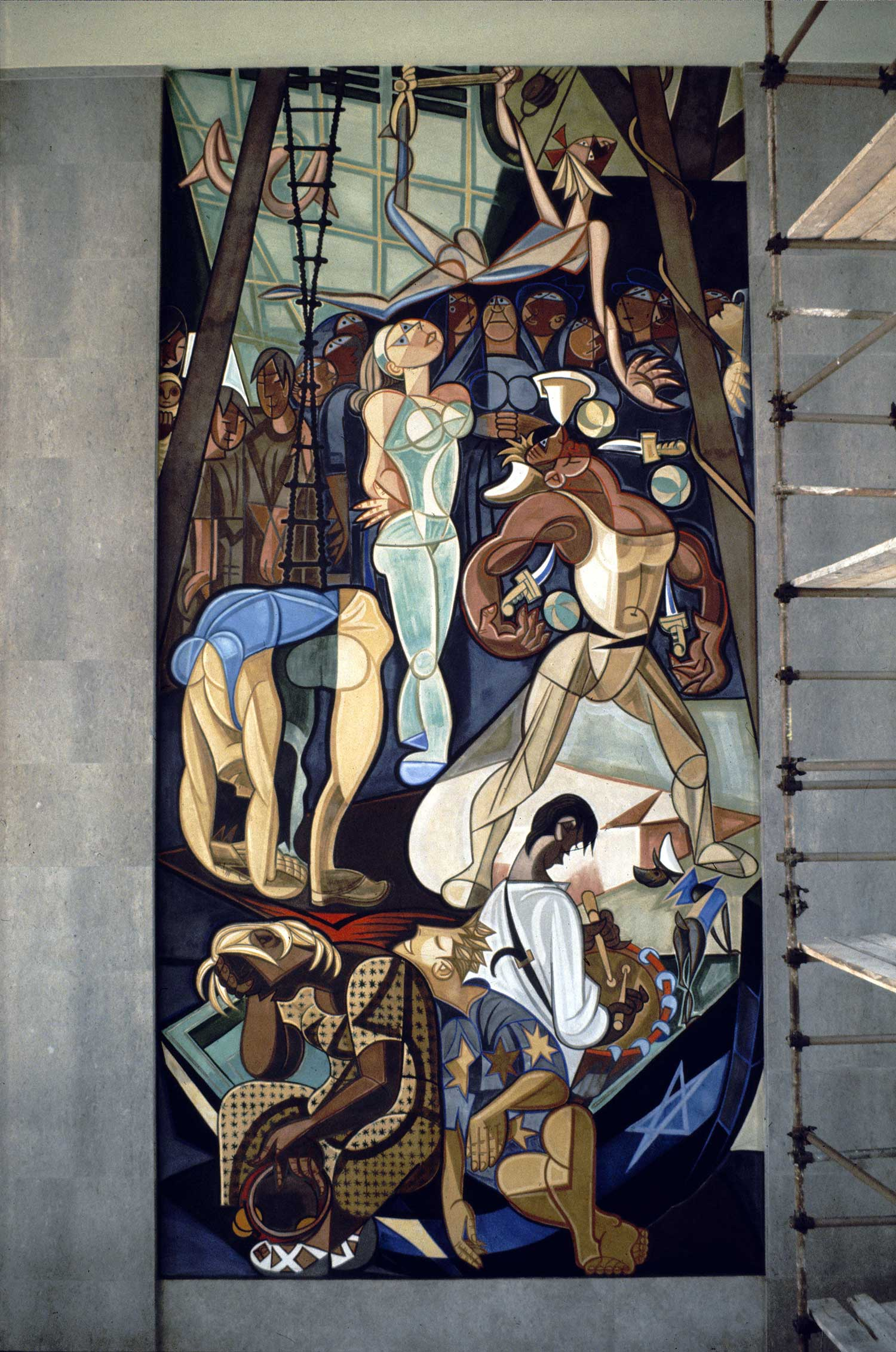 "Gare Marítima da Rocha Conde de Óbidos (completed in 1948). Panel from the ""Sunday afternoon by the Tejo"" triptych. Image source: Gulbenkian Collection"