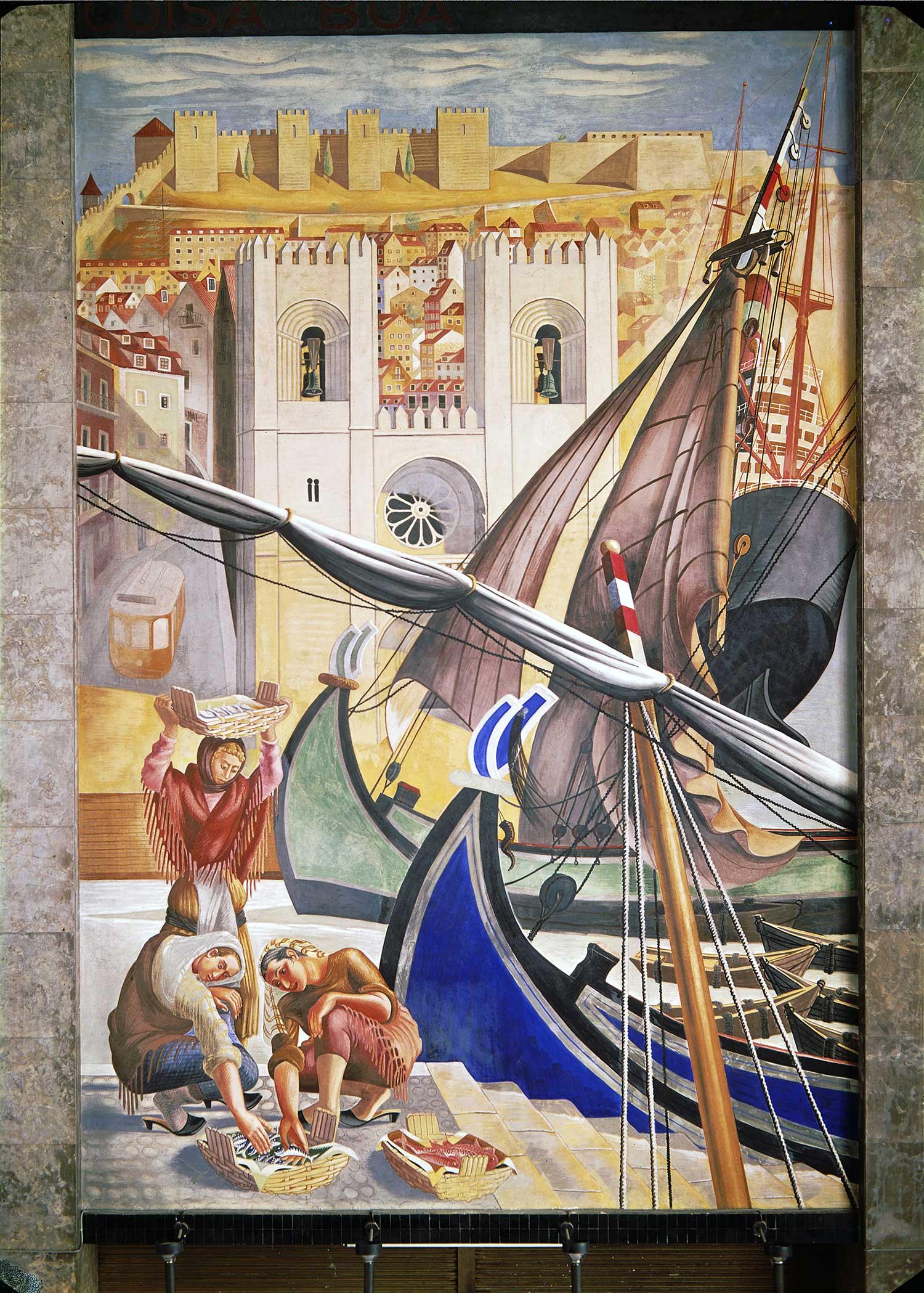 """""""Quem não viu Lisboa não viu coisa boa"""" (""""Who hasn't seen Lisbon has seen nothing good"""") Artist: José de Almada Negreiros  Photo: Mário Novais, ca. 1943-1945, Lisbon  [CFT003_082290]"""