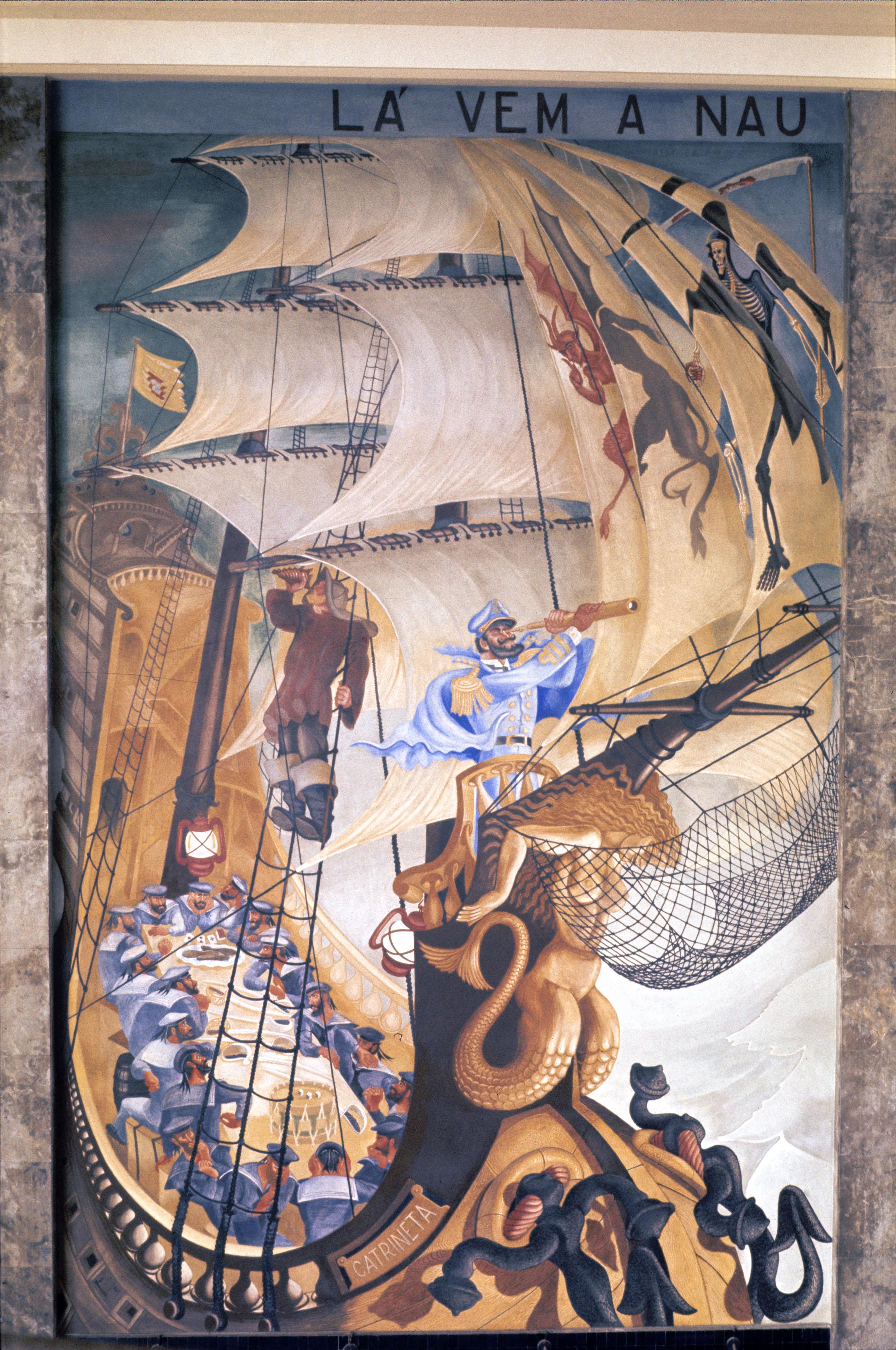 """""""Lá vem a nau  Catrineta  que traz muito que contar"""" (""""Here comes the ship  Catrineta  that brings much to tell"""") Artist: José de Almada Negreiros   Photo: Mário Novais, ca. 1943-1945, Lisbon  [CFT003_098010]"""