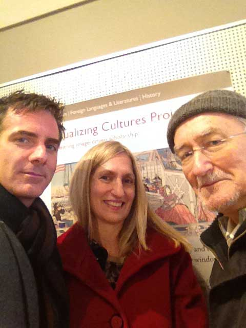 Scott Shunk, Ellen Sebring, and John Dower at MIT in front of Visualizing Cultures poster, March 2013