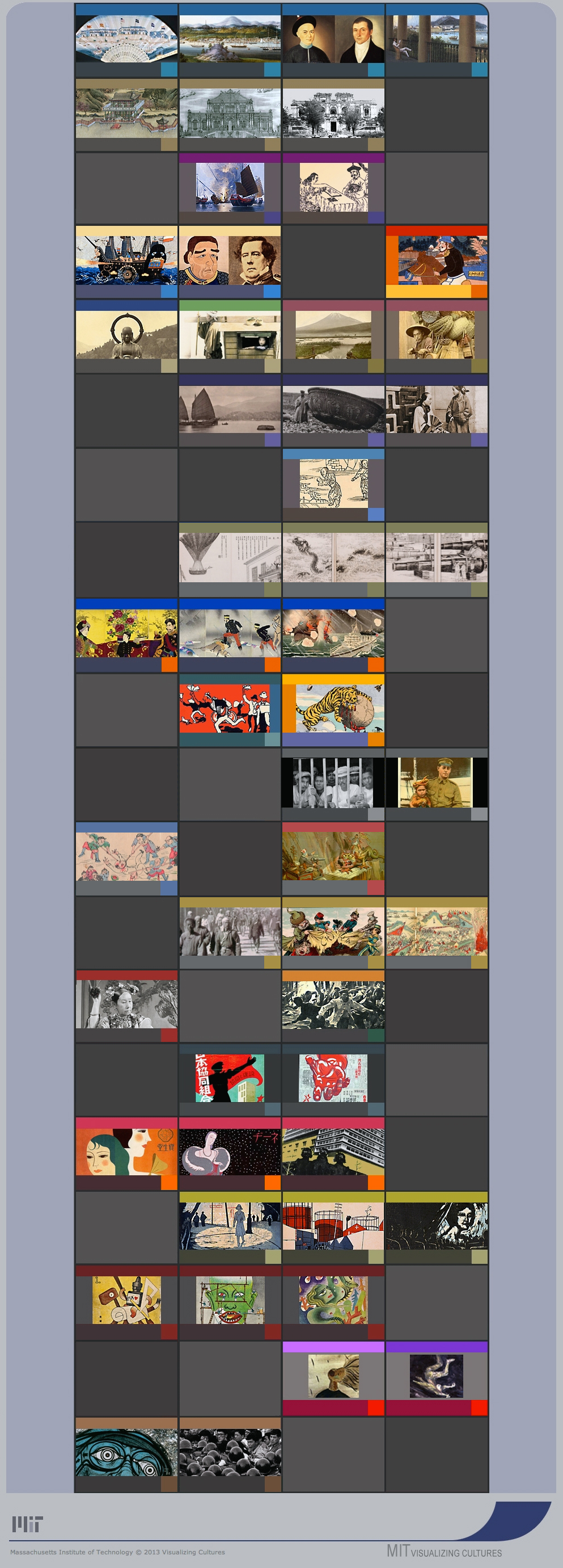 MIT Visualizing Cultures, units menu for the project on MIT OpenCourseWare. These units focus primarily on the emergence of Japan and China in the modern world.