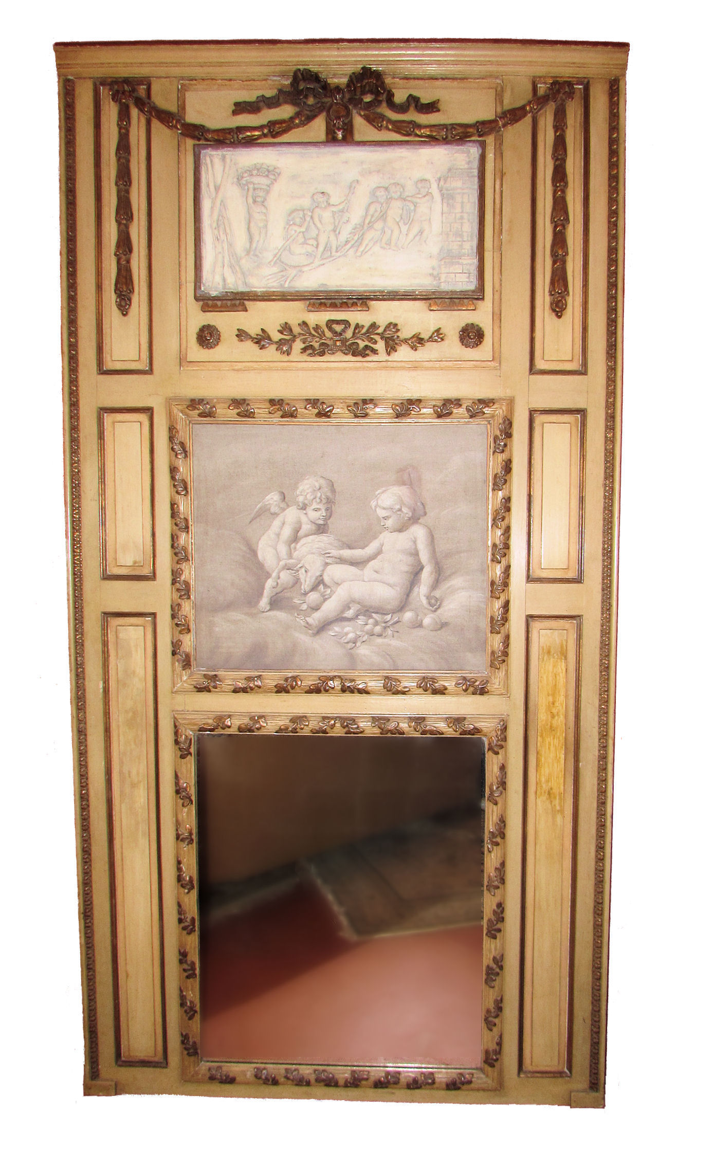 SOLD Vintage / Antique 7.5 Foot French Trumeau Mirror