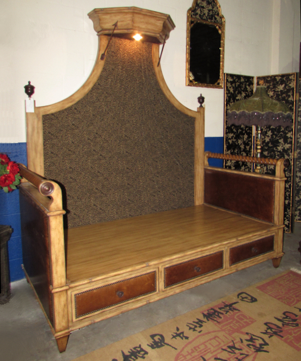 Maitland Smith Pine Daybed with Leather Accents and Lighted Canopy - Showroom Floor Sample