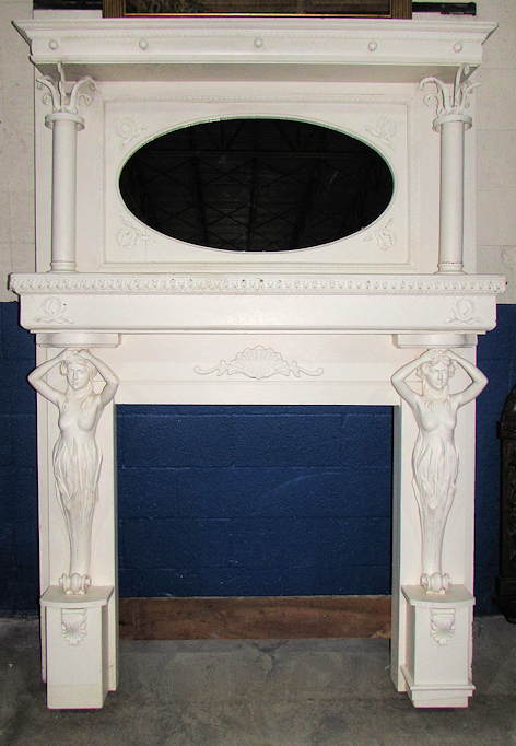 Antique 1920s Carved Wood Fireplace Surround