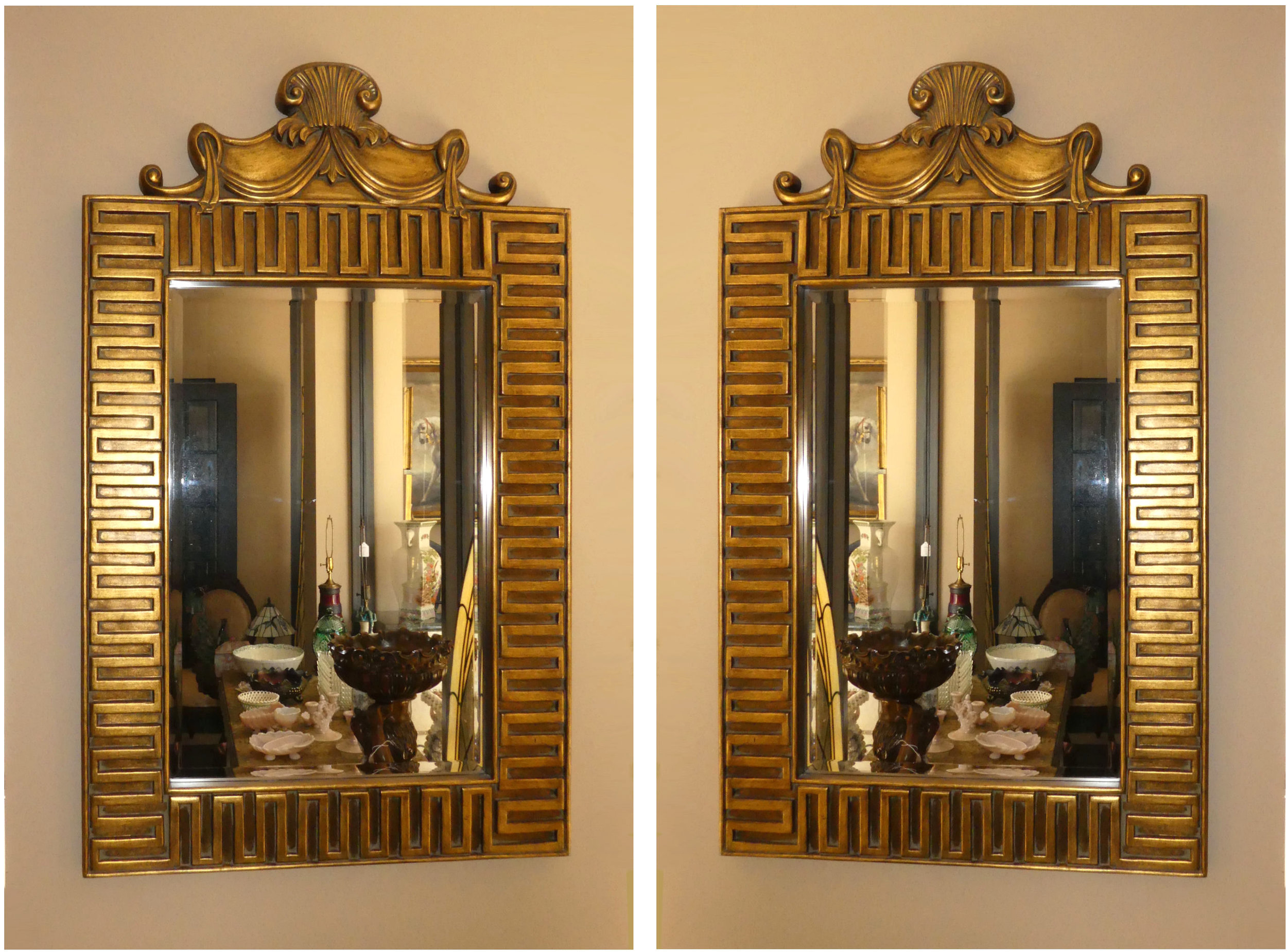 "Pair of 2 Greek Key Decorated Gilt Mirrors 34""x 57"""