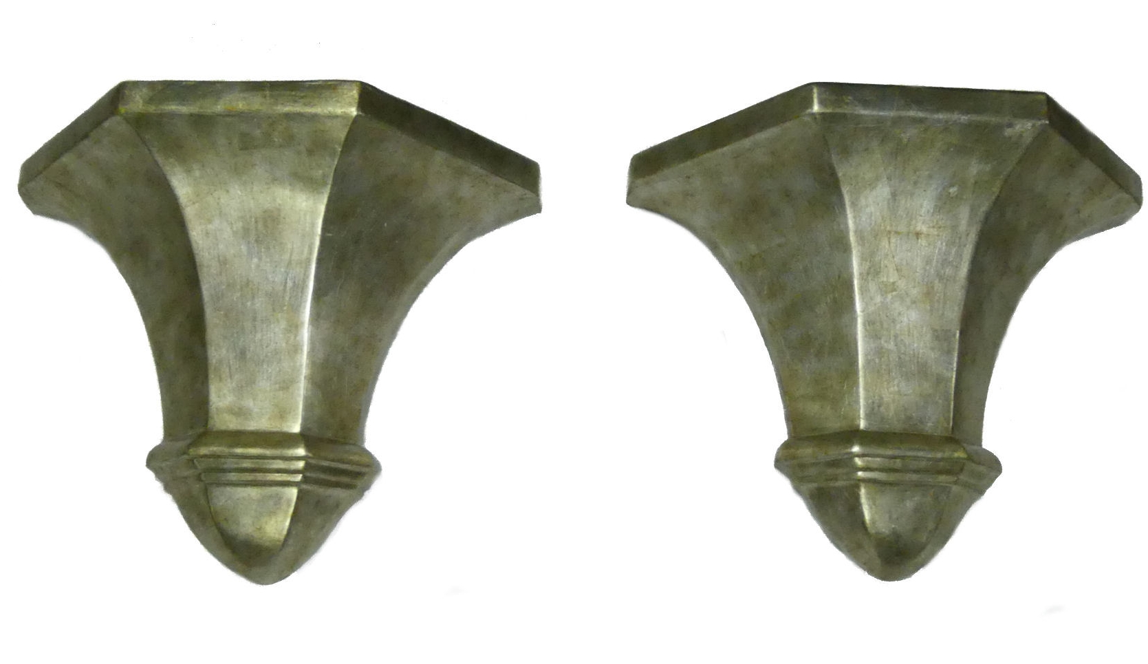 Pair of Decorative Silver Leaf Wall Sconces