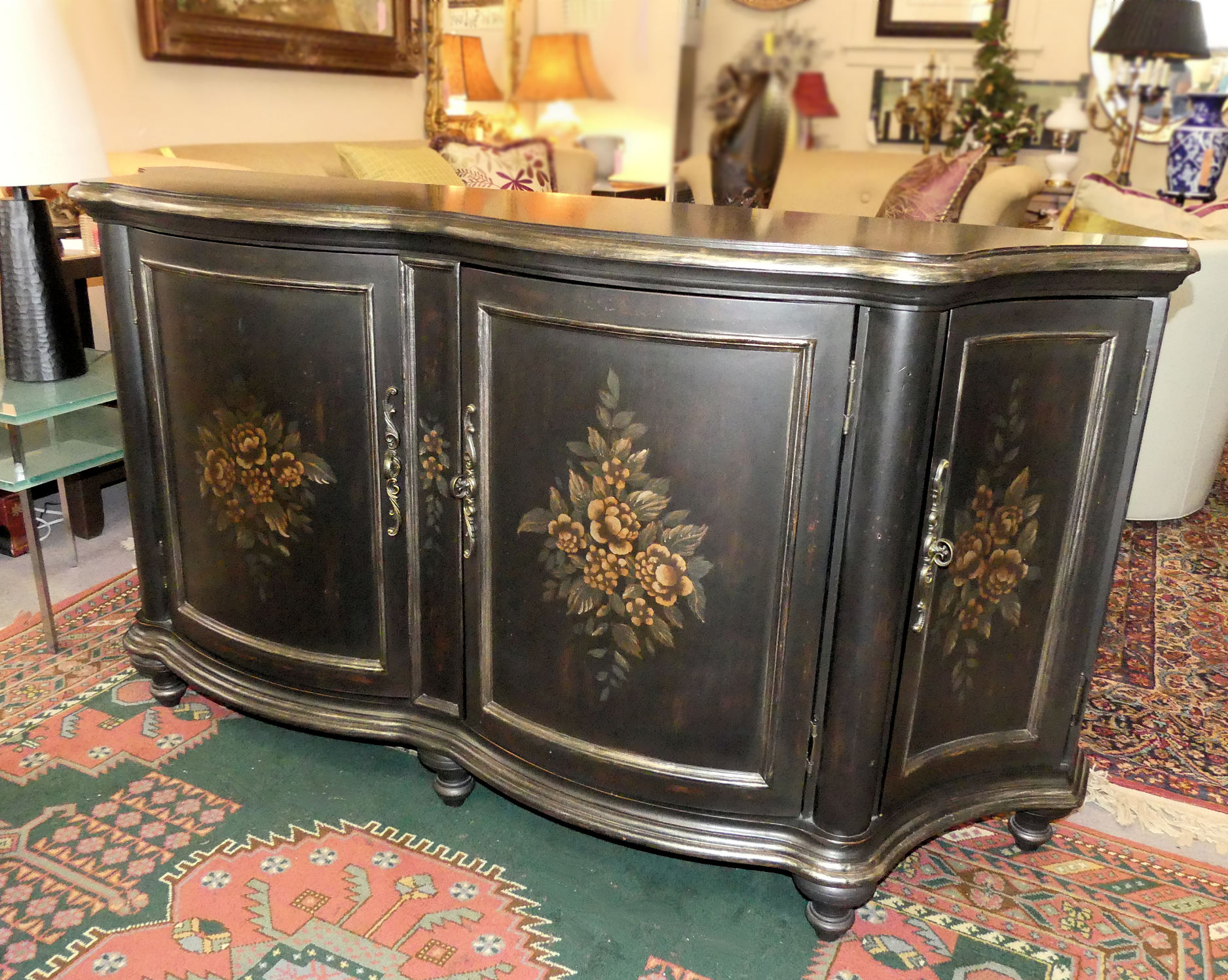 SOLD Hand Painted Serpentine Credenza