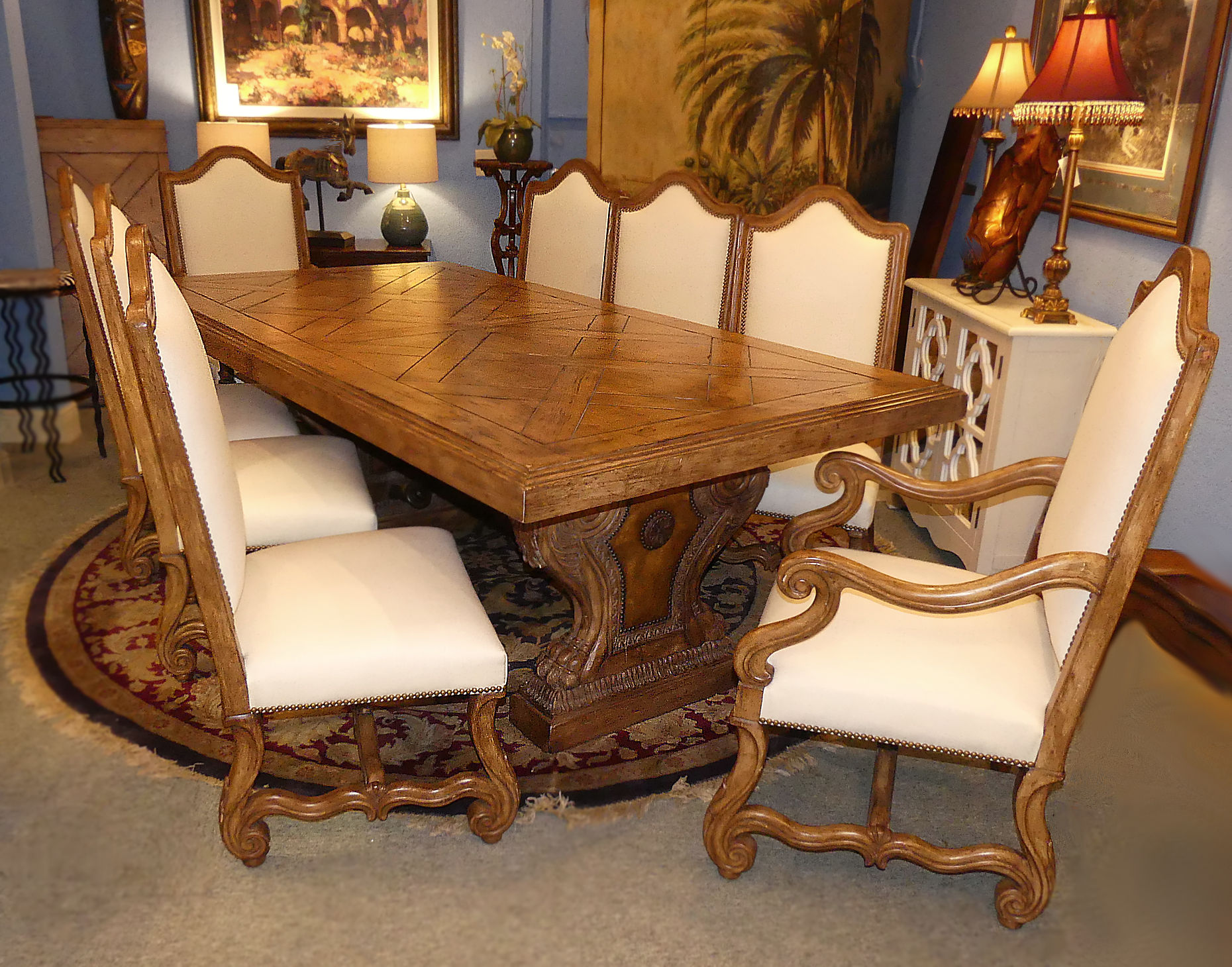 SOLD Ferguson Copeland Highlands Dining Room Set Trestle Base Table plus 8 Off White Linen Chairs