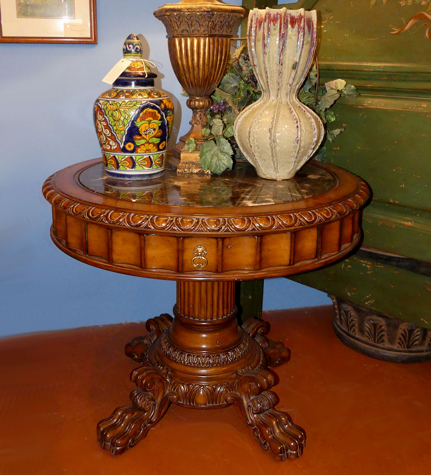 SOLD  Marge Carson Marble Top Pedestal End Table