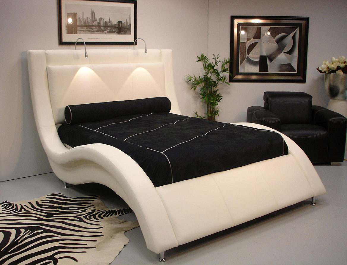 "SOLD  Design NS Leather Queen Size ""Wave"" Bed"