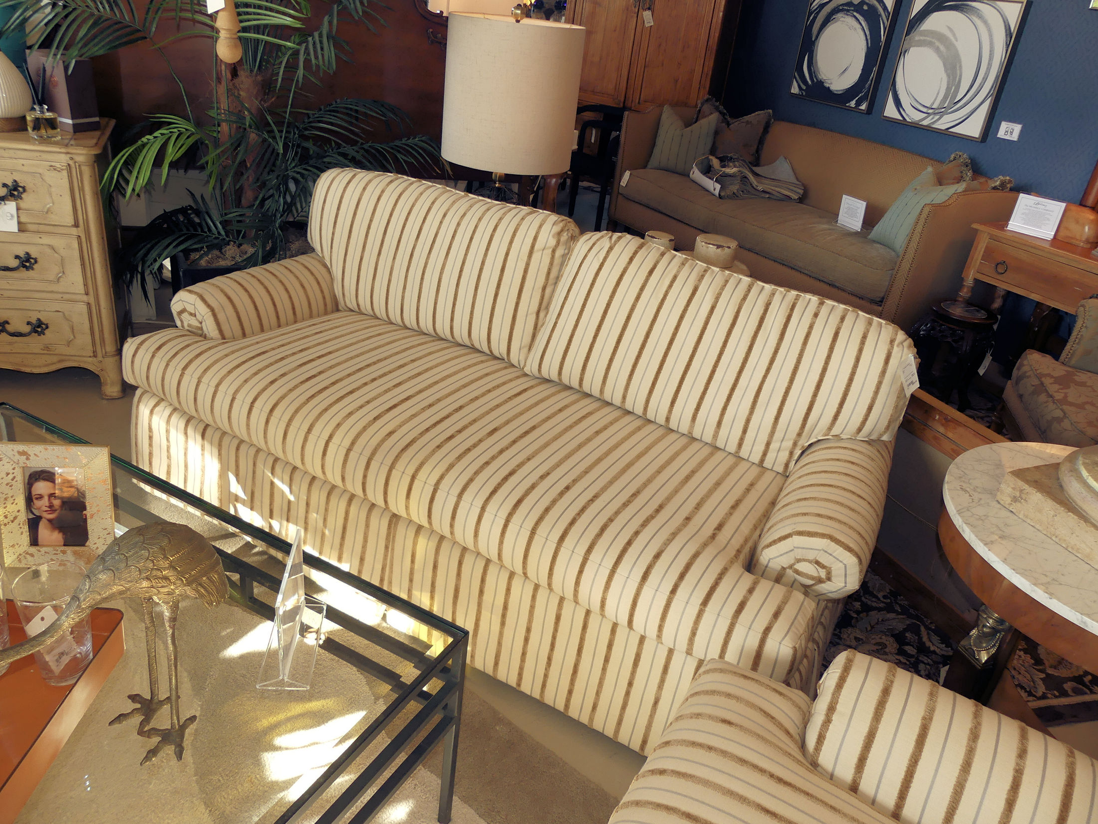SOLD Luxurious Custom Striped Sofa - 2 Available