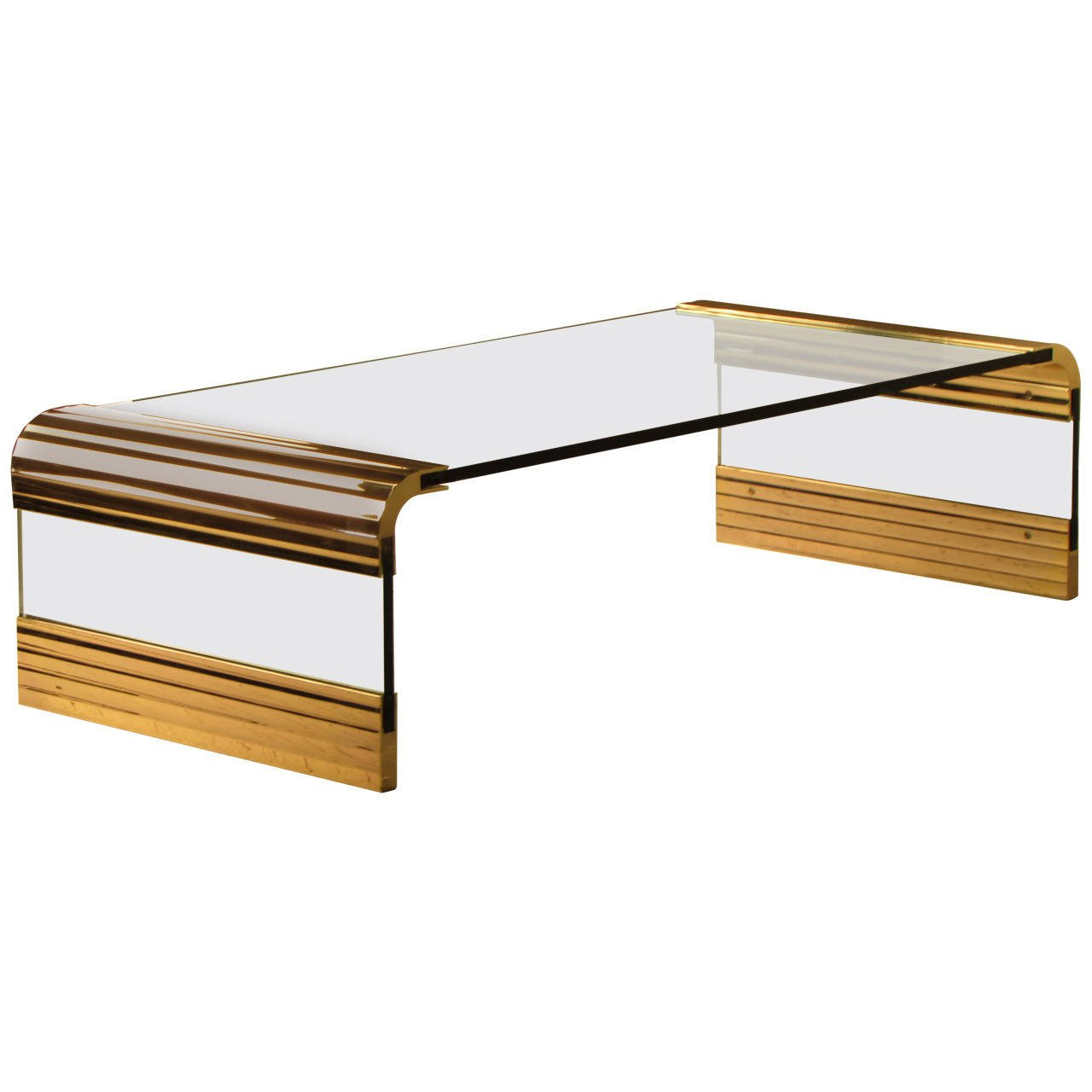 SOLD  Leon Rosen for The Pace Collection Scalloped Brass and Glass Waterfall Cocktail Table