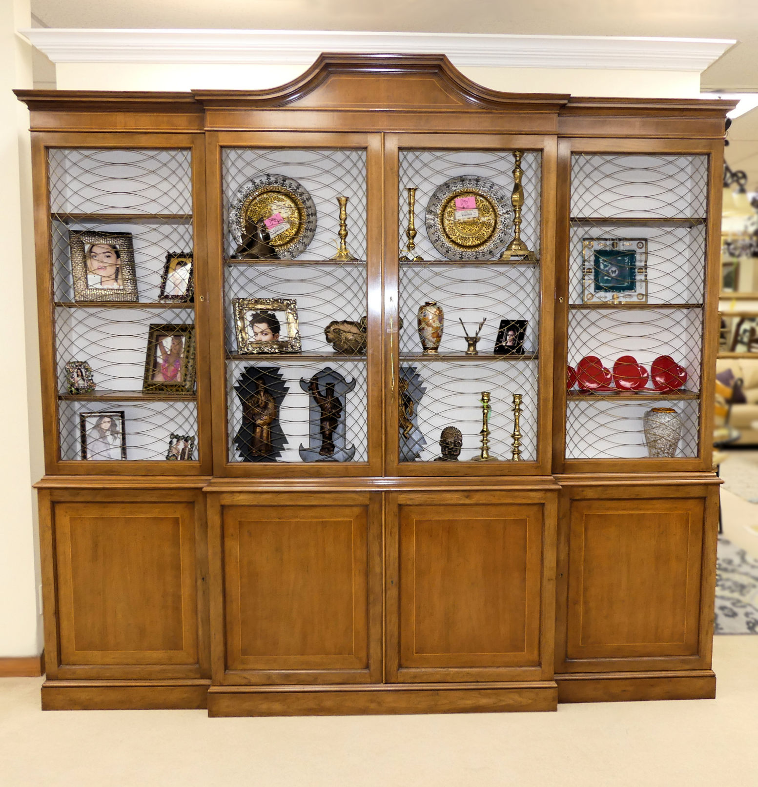 SOLD  Baker Cage-Front Breakfront or Bookcase Display