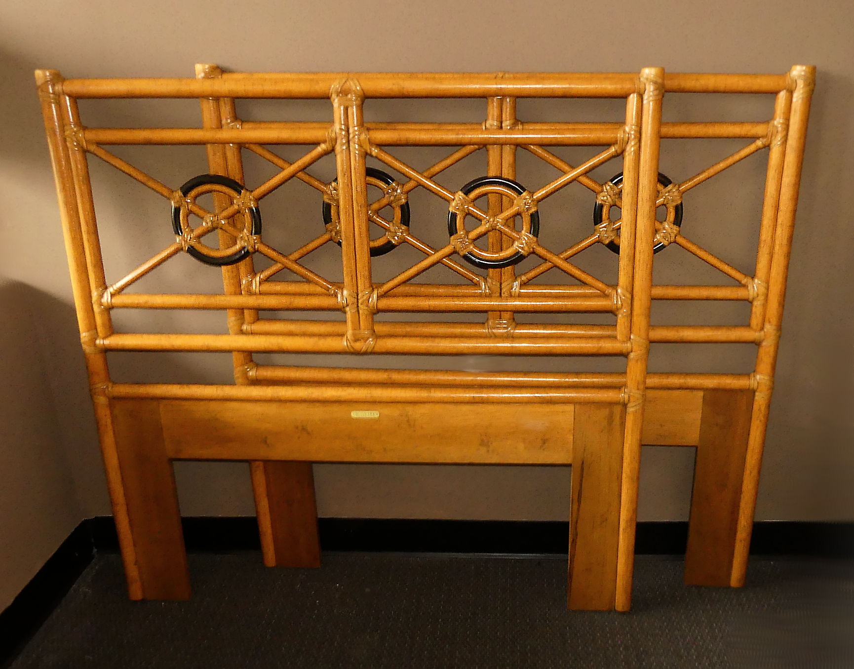SOLD  Pair of 2 McGuire Bamboo & Laced Rawhide Twin headboards